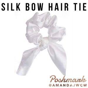 Silk Bow Hair Tie Scrunchie - White